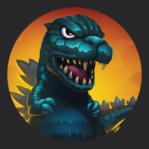 """Godzilla"" -- By Kevin Chin (on Black Tee)"