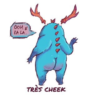 """Tres Cheek"" Graphic -- By Carissa Cornelius (on White Tee)"
