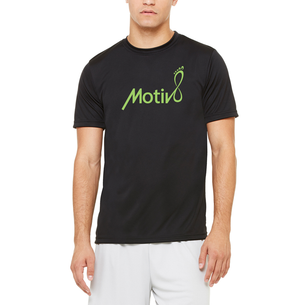 """Don't Hate, Motiv8"" Graphic (on Men's Black Performance Tee)"