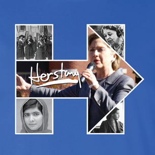 """Women of History Herstory"" Graphic (on Royal Blue Tee)"