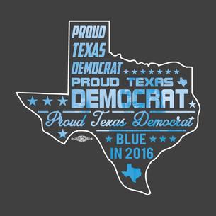 """Proud Texas Democrat for Hillary"" Graphic (on Dark Heather Grey Tee)"