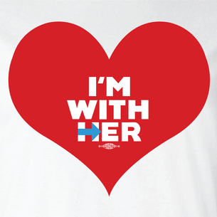 """I'm With Her"" Graphic  (Front and Back On White Tee)"
