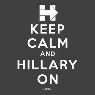 """Keep Calm and Hillary On"" Graphic (on Dark Heather Grey Tee)"