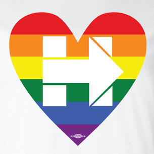 """Rainbow Heart Hillary"" Graphic  (Front and Back On White Tee)"