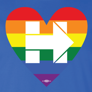 """Rainbow Heart Hillary"" Graphic  (Front and Back On Royal Blue Tee)"