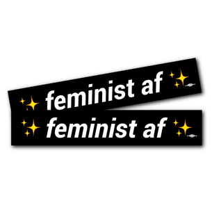 """Feminist AF"" Black 9"" x 1.66"" Stickers! -- Two Pack!"