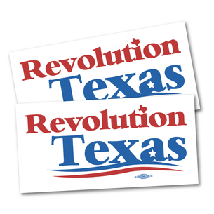 "Two ""Revolution Texas Logo"" 7.5"" x 3.75"" Stickers"