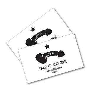 "Two ""Take It and Come"" White 5"" x 3"" Stickers"
