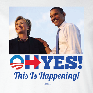 """Oh Yes! This Is Happening"" Graphic  (Front and Back On White Tee)"