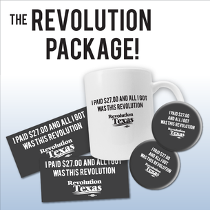 """The $27.00 Revolution Package!"" 1 mug, 2 buttons, & 2 stickers!"