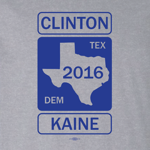 Clinton Kaine Texas Road Sign Graphic (On Heather Grey Tee)