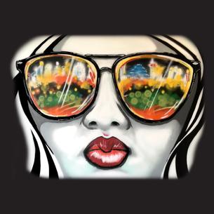 """Girl Sunglasses"" Graphic (on  Black Tee)"