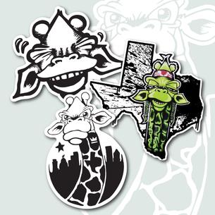 """Three """"Draff"""" Stickers"""