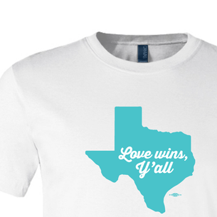 """""""Love Wins, Y'all"""" Graphic (on White Tee)"""
