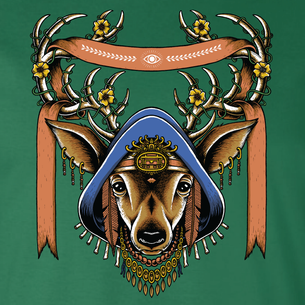 """Deer"" Spirit Animal Graphic -- By Matt Leunig (on Evergreen Tee)"