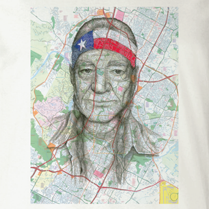 """Willie Nelson"" Graphic -- By Janis Fowler (on Natural Tee)"