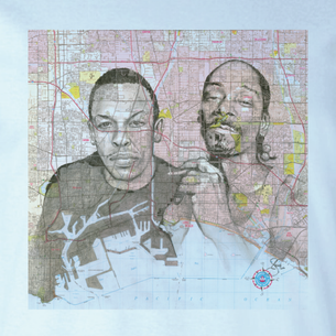 """Snoop Dog"" Graphic -- By Janis Fowler (on Light Blue Tee)"