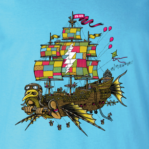 """Airship Of Fools""  (Nutbag Limited Edition!) -- By Matt Leunig (on Aqua Tee)"
