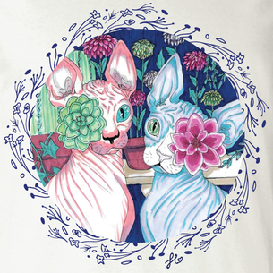 """Sphynx Flora"" Graphic -- By Fauna Lore (on Black Tee)"