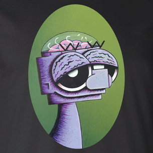 """Green Robot"" Graphic -- By Happy Robots (on Black Tee)"
