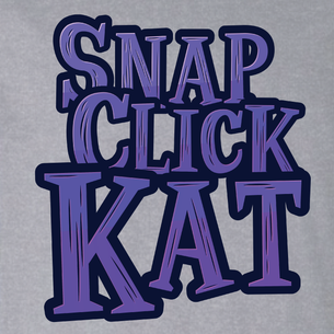 """Snap Click Kat"" Stacked Logo Graphic - SCK! (on Heather Gray Tee)"