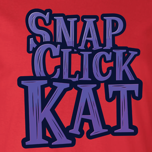 """Snap Click Kat"" Stacked Logo Graphic - SCK! (on Red Tee)"