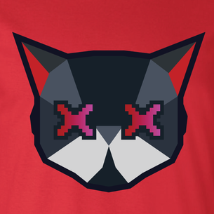 Cat Logo Graphic (on Red Tee)