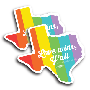 "Two Rainbow ""Love Wins Y'all"" (4"" x 4"" Complex Cut Stickers)"