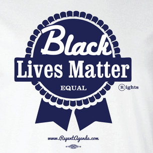 """PBR Black Lives Matter"" by David Peirce - Repent Agenda (on Black Tee)"
