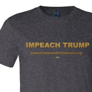 Impeach Trump Gold Logo Graphic (on Dark Heather Tee)