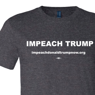 Impeach Trump White Logo Graphic (on Dark Heather Tee)
