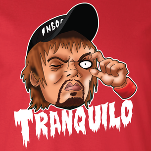 """Tranquilo"" Graphic by Seth Melton (on Red Tee)"