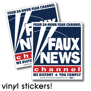 """Faux News"" graphic on  ( 4"" x 4.5"" Vinyl Stickers) -- Pack of Two"