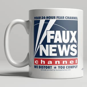 """Faux News""  graphic on Double-Sided Mug -- 11oz ceramic"