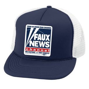 """Faux News"" Graphic ""on Royal Blue Foam Trucker Cap"""
