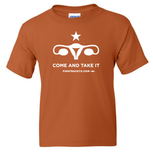 """Come And Take It"" Uterus unisex tee - 1-color imprint on Texas orange tee"