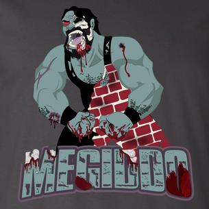 """Zombified Megiddo"" logo graphic (On Dark Gray Tee)"