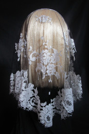 French Bouquet Mantilla Chapel Veil in Black & Silver