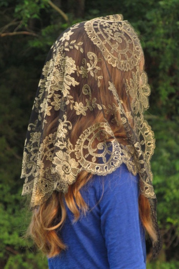 Authentic Spanish Medallion Mantilla Chapel Veil in Black and Gold