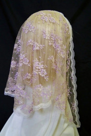 Beige & Lilac Chantilly Lace Mantilla