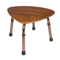 Adjustable Height Triangular Teak Bath Bench Stool - rtl12350kdr