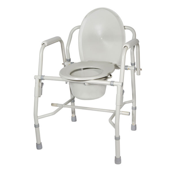 Steel Drop Arm Bedside Commode with Padded Arms | Commode Chair ...