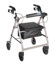 Silver Rollator Walker with Fold Up and Removable Back Support and Padded Seat - r726sl