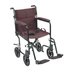 "19"" Flyweight Lightweight Burgundy Transport Wheelchair - fw19bg"