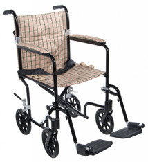 "17"" Flyweight Lightweight Tan Plaid Transport Wheelchair - fw17db"