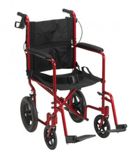 Lightweight Expedition Red Transport Wheelchair with Hand Brakes - exp19ltrd