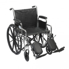 Chrome Sport Wheelchair with Detachable Desk Arms and Elevating Leg Rest - cs20dda-elr