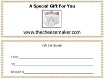 CheeseMaker Gift Certificate