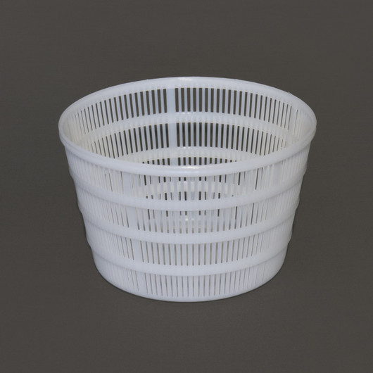 Ricotta Basket: Large: top inside diameter: 5 3/4 inches (14.6 cm), bottom inside diameter 4 1/4 inches (10.7cm), height: 3 1/2 inches (8.9 cm) closed bottom.