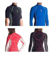 Aqua/White Capped Sleeve Hydroskin Rash Guard - 14/16